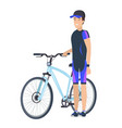 biking concept icon of male in cap standing bike vector image vector image