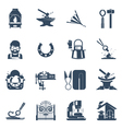 Blacksmith Black Icons Set vector image