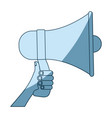 blue shading silhouette of hand holding megaphone vector image vector image