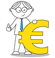 business man and the euro symbol vector image vector image