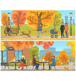 cafe with tables and clients city park set vector image vector image
