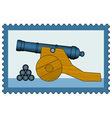 Cannon on stamp vector image vector image