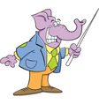 Cartoon elephant holding a pointer vector image vector image