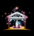 christmas card with holy family and animals in vector image vector image