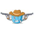 cowboy tea cup character cartoon vector image vector image