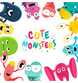 cute cartoon monsters background vector image vector image