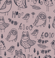 Cute owls florals and hand lettering vector image vector image