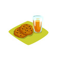 delicious cookies with chocolate chips and glass vector image