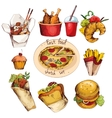 Fast food sketch set vector image