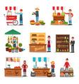 flat set of street vendor selling various vector image vector image