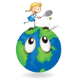 girl playing tennis on earth globe vector image vector image