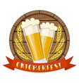 glass of beer on a wooden barrel vector image vector image