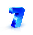glossy blue seven 7 number 3d on vector image