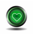Green Heart Button vector image vector image