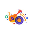 guitar and vinyl disk music entertainment vector image vector image