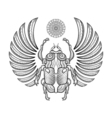 hand drawn egyptian scarab beetle entangle vector image