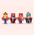 happy family watching movie together vector image vector image