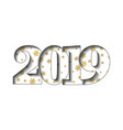 happy new year card 3d number 2019 golden vector image vector image