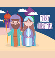 holy mary and joseph manger nativity merry vector image vector image