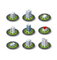 icon set city with isometric houses vector image vector image