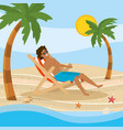 man wearing bathing shorts in tanning chair vector image vector image