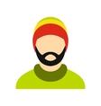 Man wearing rastafarian hat icon flat style vector image