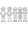 men in different costumes vector image