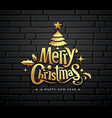 merry christmas gold message with tree star ball vector image vector image
