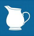 milk jar white outline icon on blueprint vector image