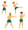 mixed martial arts icons set cartoon style vector image vector image