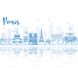 Outline Paris skyline with blue buildings vector image vector image