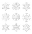 paper cut snow flakes vector image