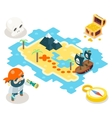 Pirate Treasure Adventure Game RPG Map Icon vector image vector image