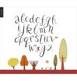 Script alphabet 2 vector image