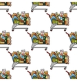 Seamless background pattern of a cart of groceries