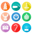 Set of Christmas icons flet White color