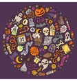 Set of Halloween cartoon objects symbols and vector image vector image