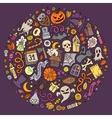 set of halloween cartoon objects symbols vector image vector image