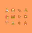 set simple line icons oktoberfest vector image