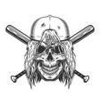 skull in cap with long hair vector image vector image