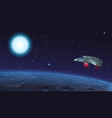 spaceship flying over alien vector image vector image