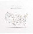 usa map low poly wire frame on white background vector image vector image