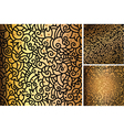 Set of hand drawn gold patterns vector image