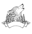 a howling wolf with ribbon vector image vector image