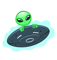 alien in flying saucer vector image
