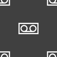 audio cassette icon sign Seamless pattern on a vector image