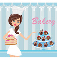 bakery store - saleswoman serving cakes vector image vector image