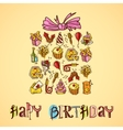 Birthday card with gift box vector image vector image