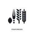 black four species isolated icon simple element vector image vector image