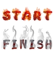 burning inscription start and finish vector image vector image